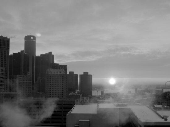 smog, cityscape, smoke, pollution, city, fog, architecture