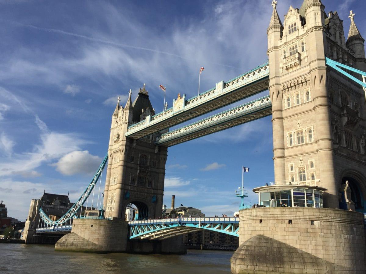 ville, Londres, Angleterre, architecture, pont, rivière, eau, ponts-levis, structure