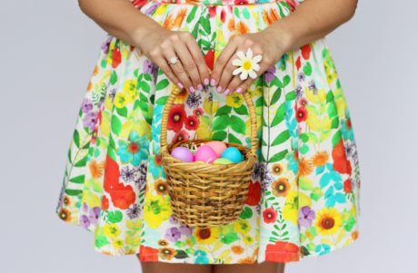 easter egg, young woman, colorfull dress, wicker basket, person