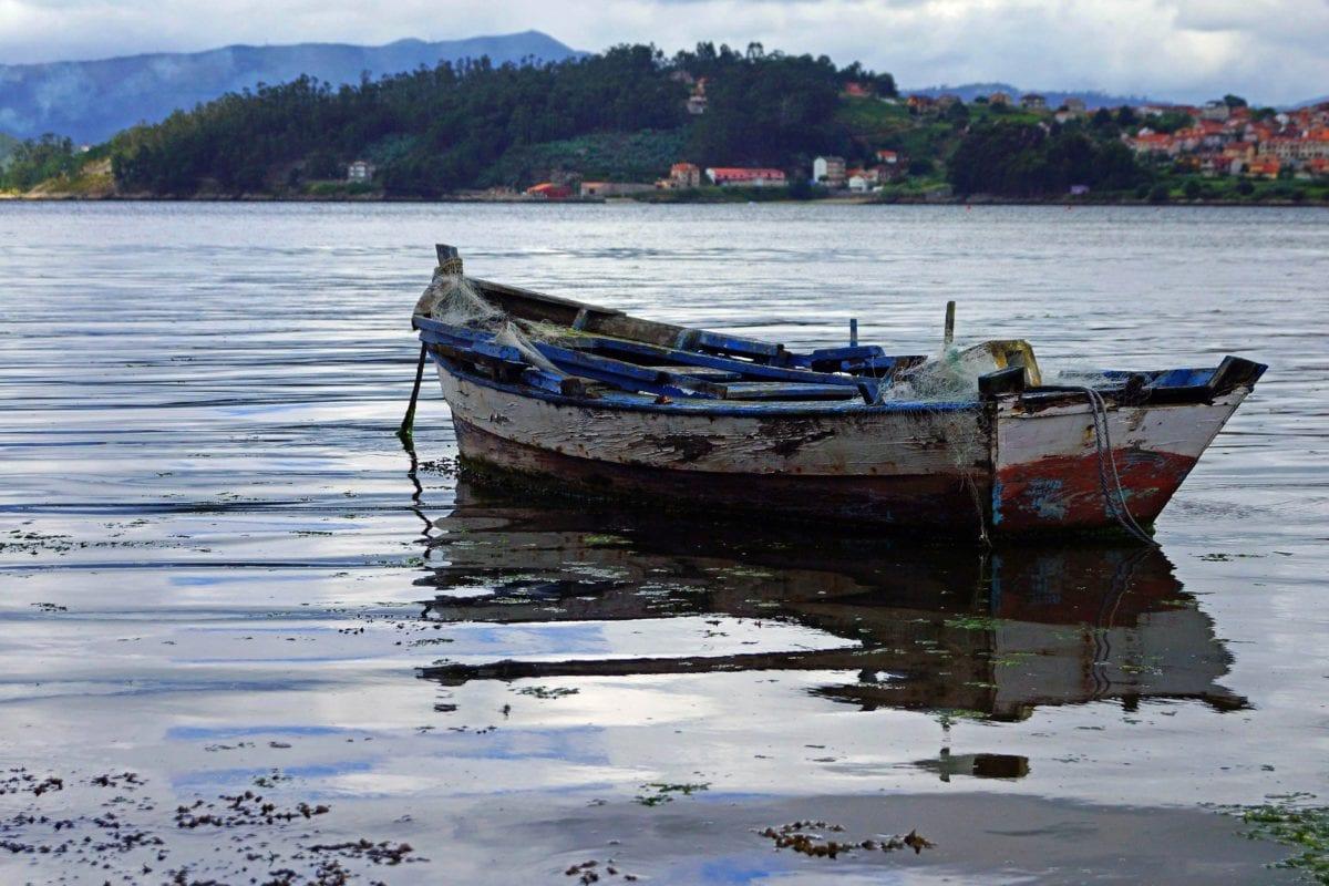 eau, bateau, mer, motomarine, épave, bateau, océan, ciel, extérieur