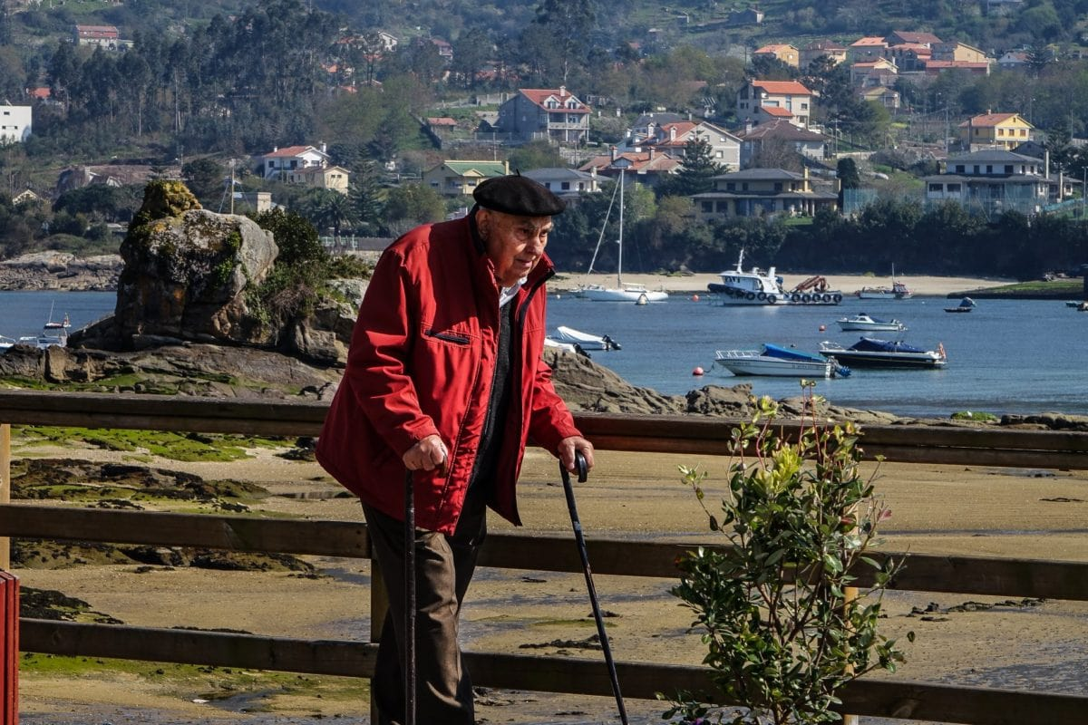 people, water, crutch, stick, outdoor, mountain, person, old man