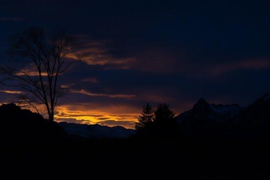 Світанок, небо, темрява, захід сонця, Силует, сутінки, сонце, краєвид