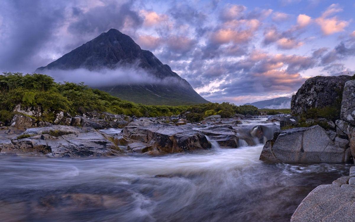 water, landscape, mountain peak, glacier, snow, dark sky, outdoor, sunset, nature
