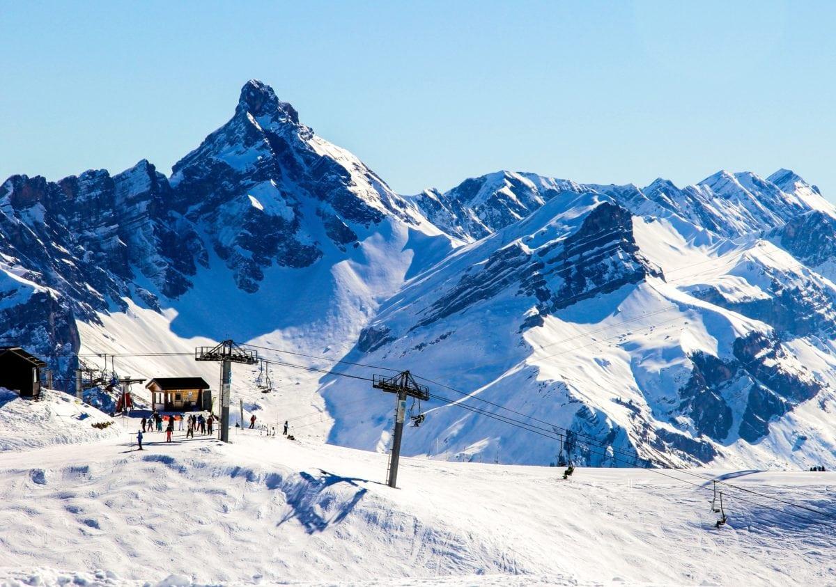 bjergtinde, vintersport, sne, is, kulde, landskab, gletscher, blå himmel