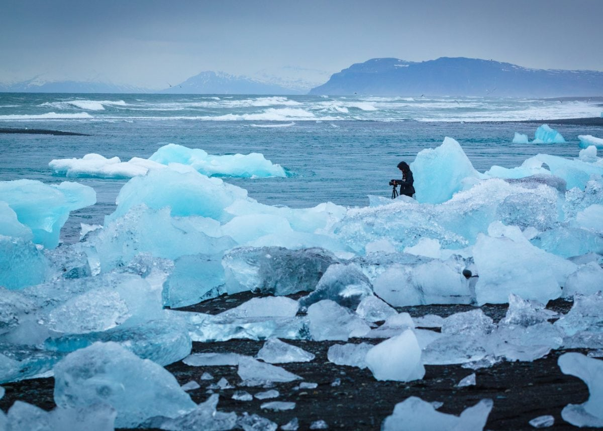 photographer, person, cold, winter, water, frozen, snow, iceberg, ice, glacier