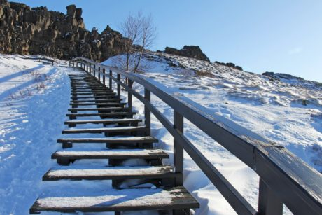 staircase, construction, frost, landscape, snow, fence, sky, winter, cold, mountain