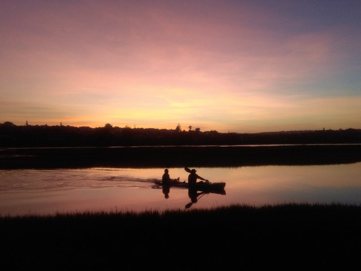 water, sunset, silhouette, kayak, lake, dawn, landscape, river, sky, outdoor