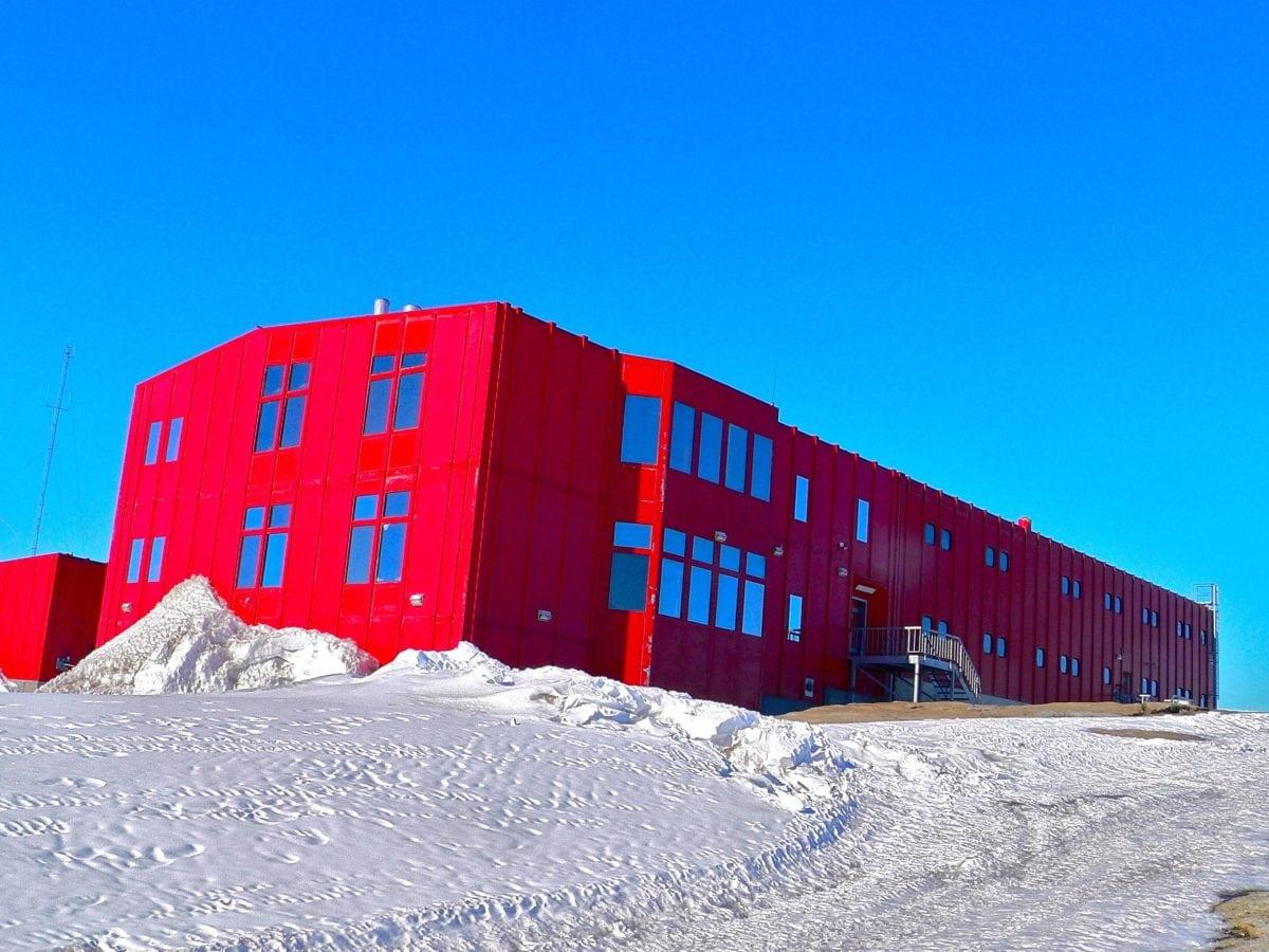 neve, inverno, cielo blu, fabbrica, industria, granaio, struttura, all'aperto