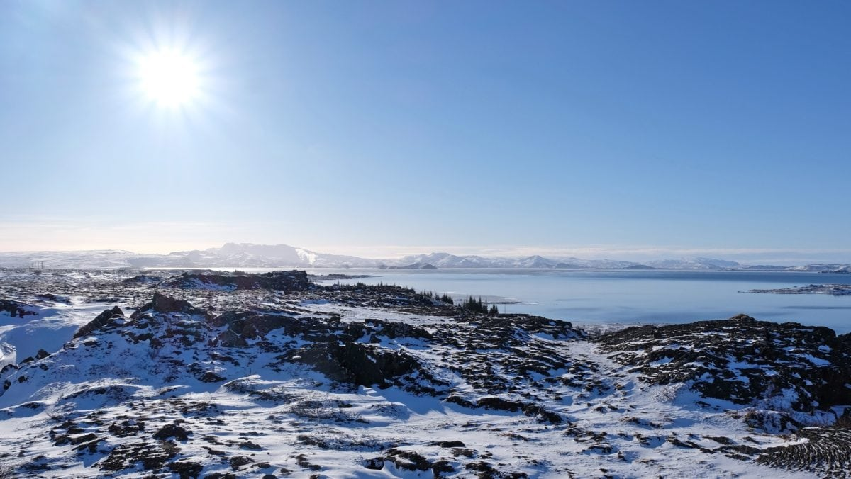 sky, water, snow, nature, mountain peak, sunshine, landscape, winter, shoreline, ocean