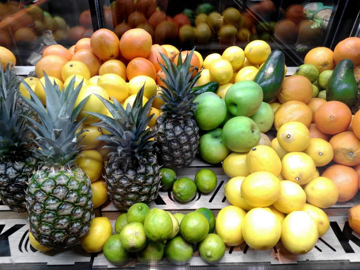 supermercato, frutta, cibo, mercato, ananas, limone, arance, dieta, agrumi, limone verde