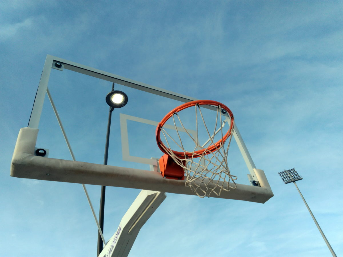 basketbalové hřiště, modrá obloha, vybavení, Outdoor, sport