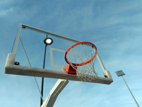 terrain de basketball, ciel bleu, Equipement, Outdoor, sport