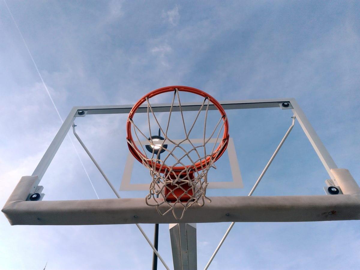 basketball court, blue sky, basketball, equipment, wheel, sport, outdoor