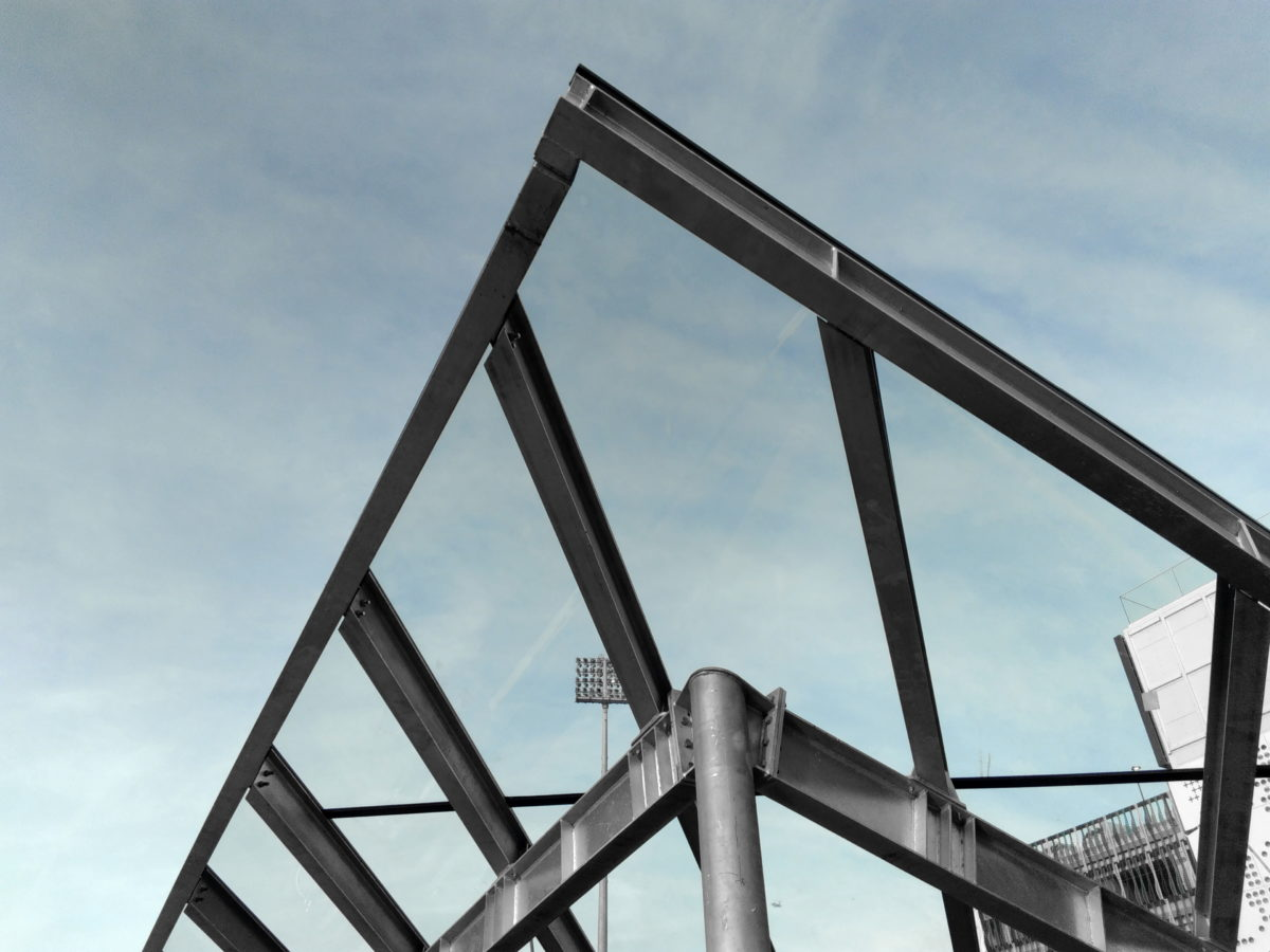 steel, iron, blue sky, steel, structure, architecture, modern design, industry
