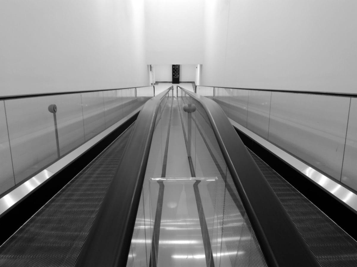 Metro asema, liuku portaat, katu, yksivärinen, tunneli, juna, Hissi