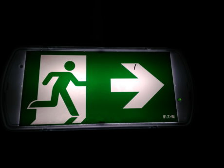 exit sign, symbol, darkness, sign, arrow, green, object