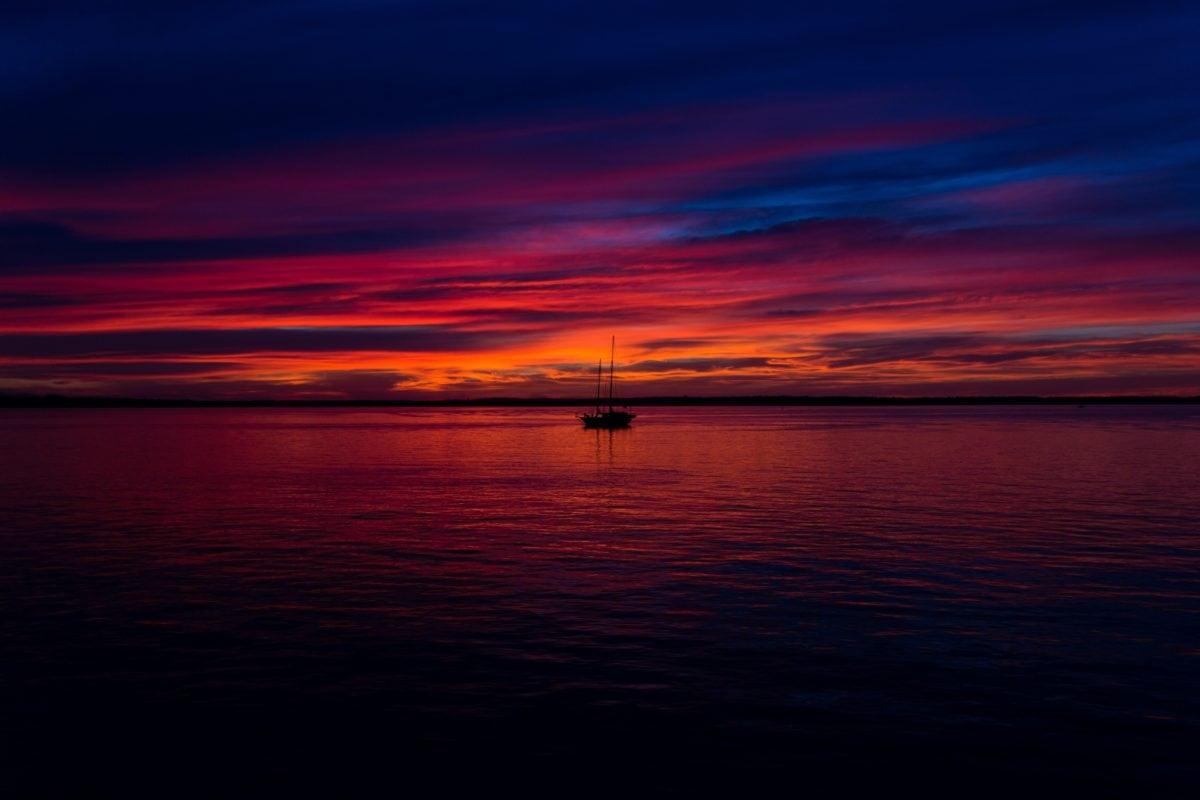 crepuscolo, alba, tramonto, acqua, all'aperto, riflessione, variopinto, cielo rosso