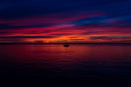 dusk, dawn, sunset, water, outdoor, reflection, colorful, red sky