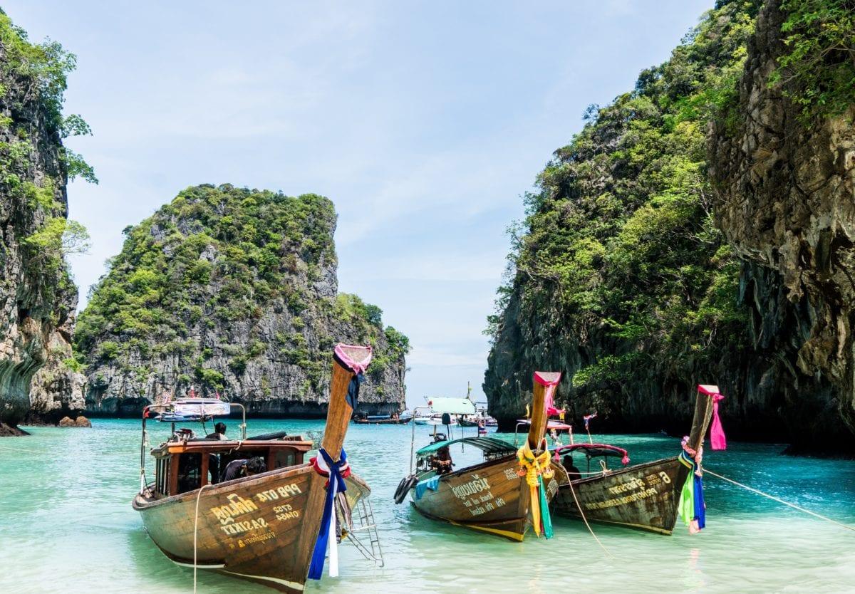 water, island, watercraft, lagoon, boat, , transport, tree, outdoor, sky, summer