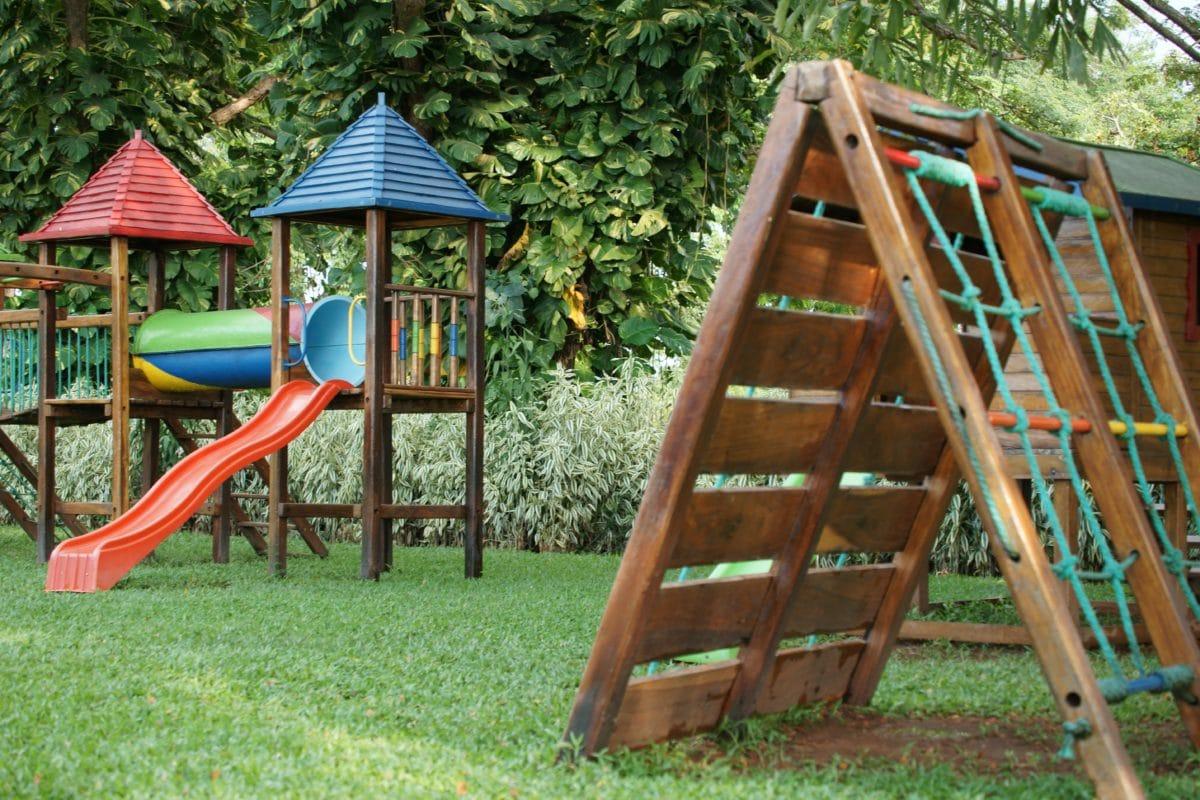дерево, дитячий майданчик, літо, дерев'яний, сад, трава, відкритий