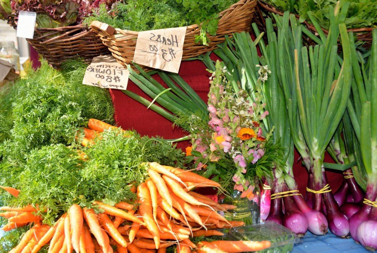 vegetabilske, mat, marked, gulrot, løk, måltid, root, flettet kurv