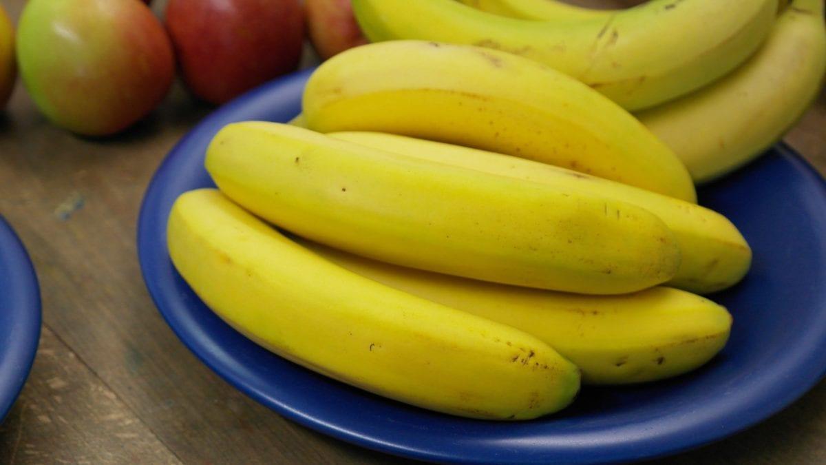 Vitamin, prehrana, hrana, voće, žuta banana, plava zdjela