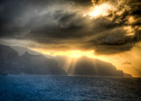 sunshine, cloud, landscape, sunset, dawn, sun, mountain, sky, ocean
