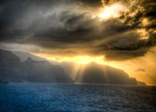 солнце, облако, пейзаж, закат, Рассвет, солнце, гора, небо, океан