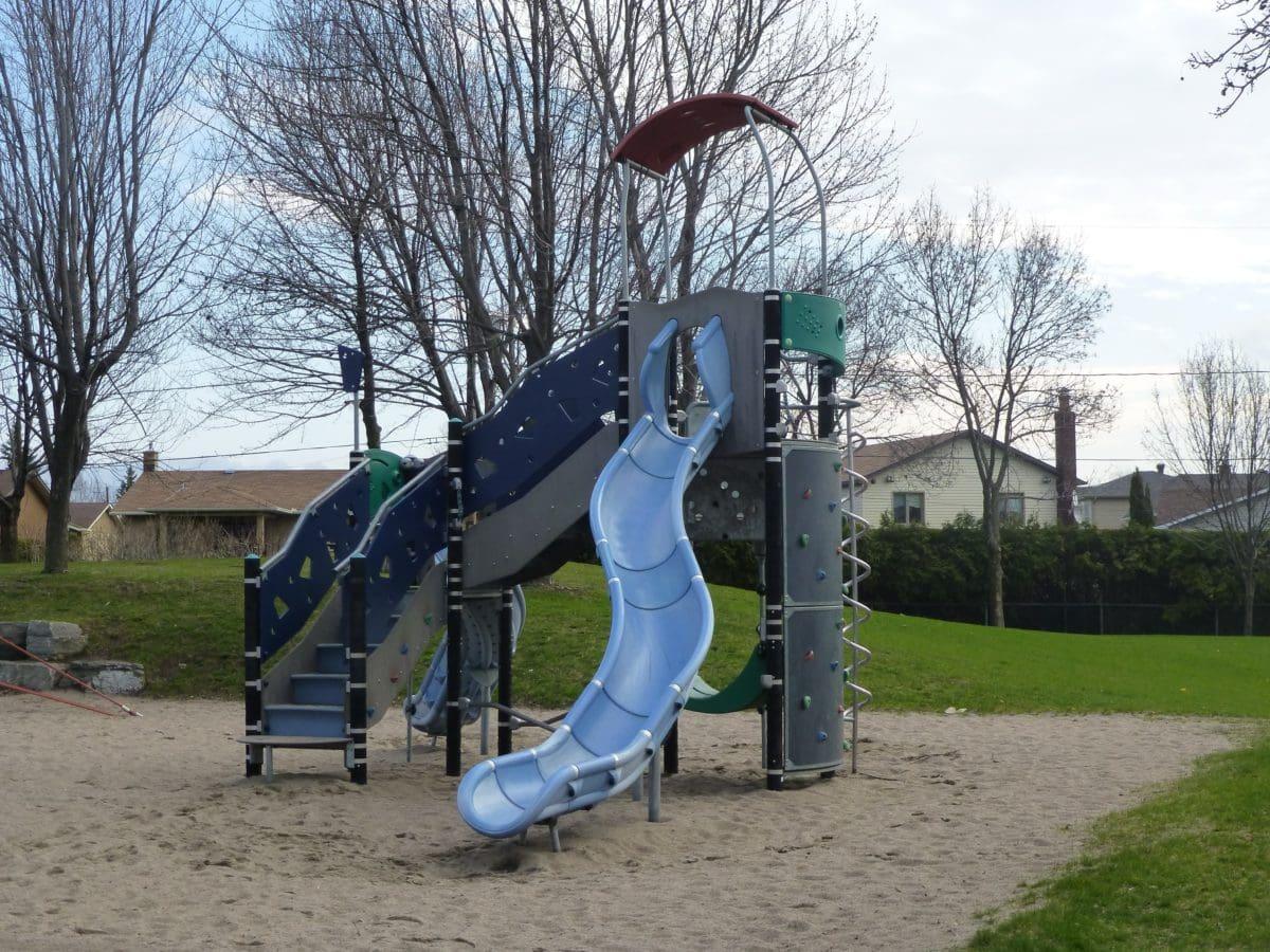 skolegård, legeplads, Park, udendørs, træ, himmel, græs