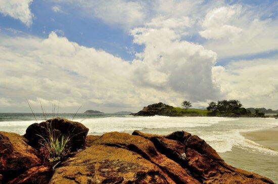 atardecer, isla, sol, verano, océano, mar, agua, cielo, naturaleza, Costa, arena, playa