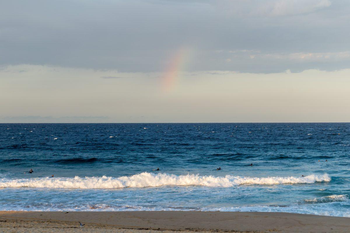 ocean, sea, water, sunset, rainbow, beach, sand, coast, seaside, shoreline