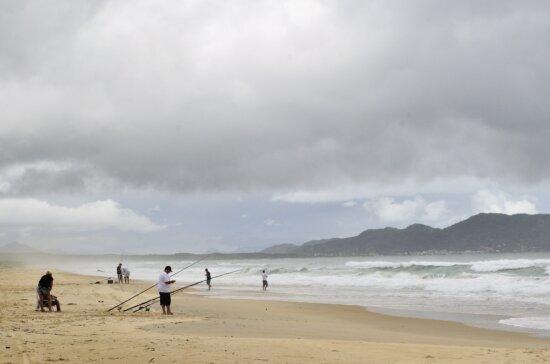 fishing sport, sky, sea, ocean, water, sand, beach, seaside, coast, ridge