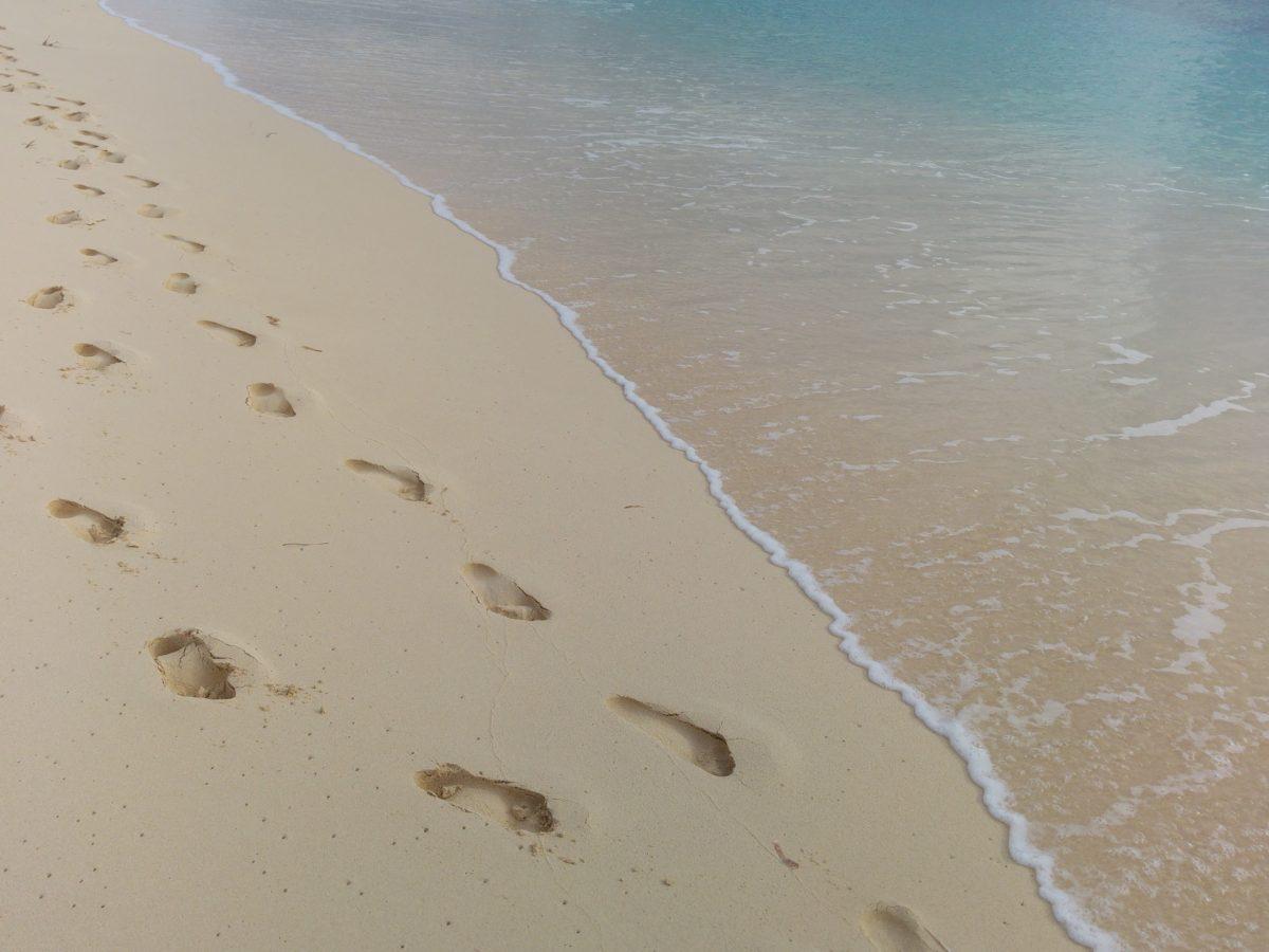ground, sea, island, footprint, tide, water, beach, seashore, ocean