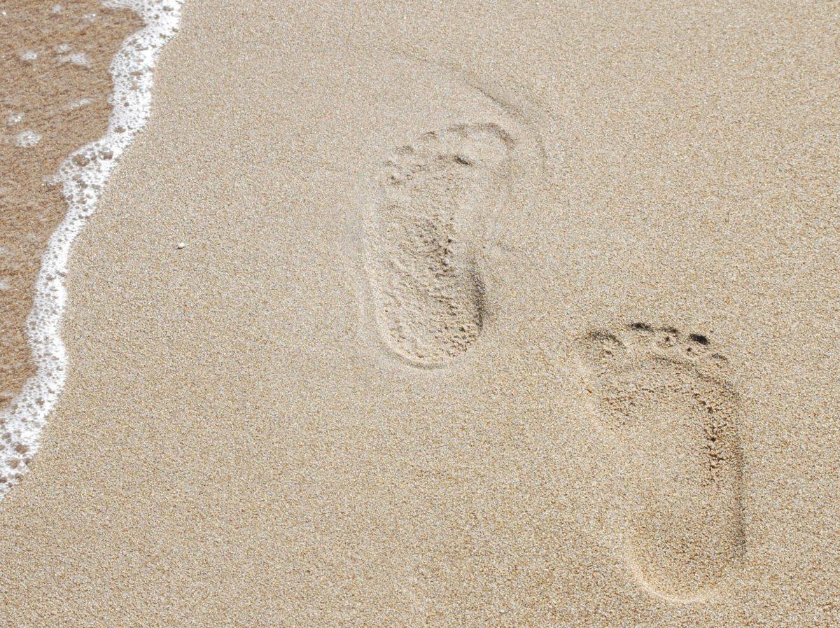 Footprint, korak, obala, more, plaža, morska obala, stopalo, pijesak