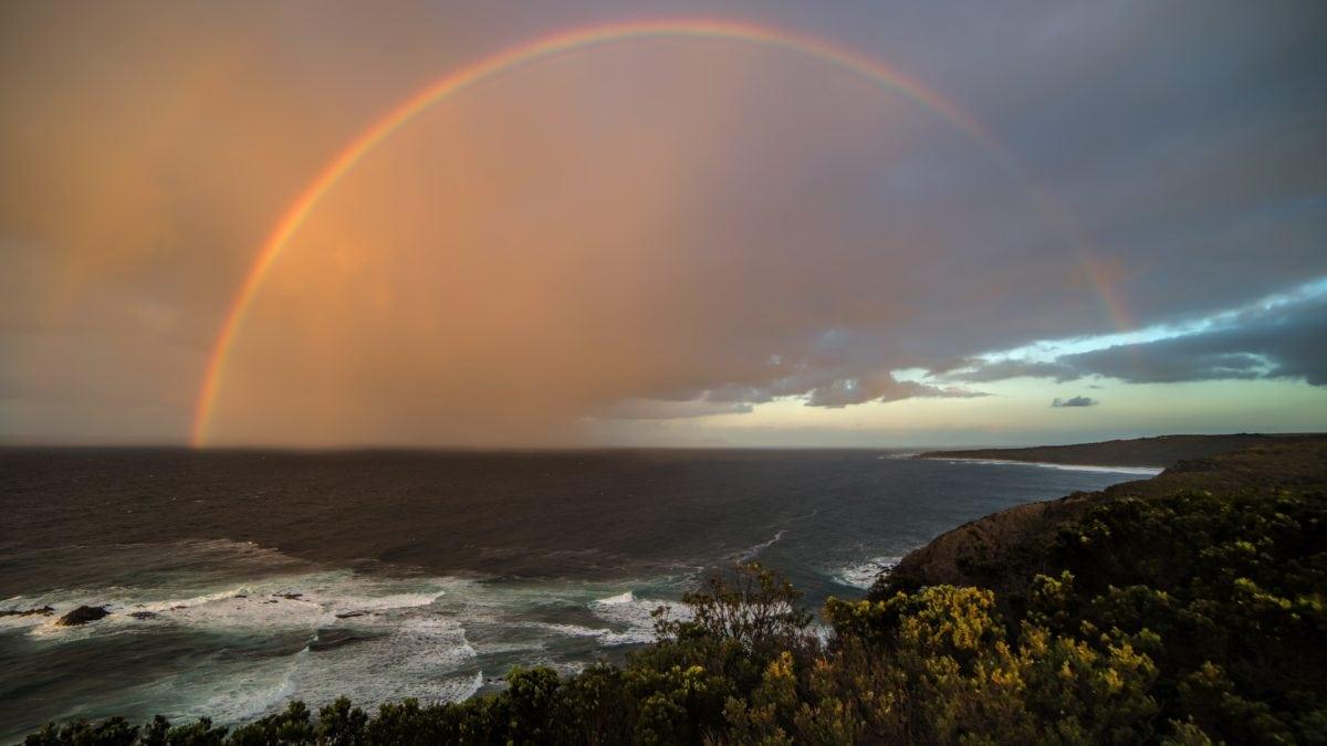 água, arco-íris, mar, paisagem, oceano, por do sol, sol, praia