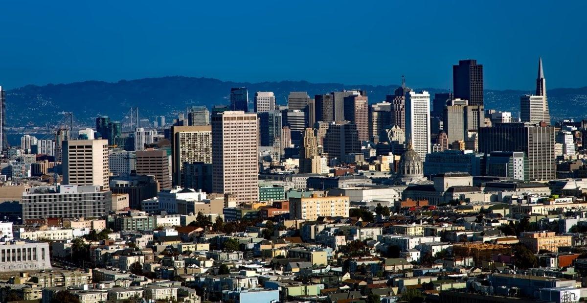 Panorama, downtown, by, bylandskab, arkitektur, moderne by, gade