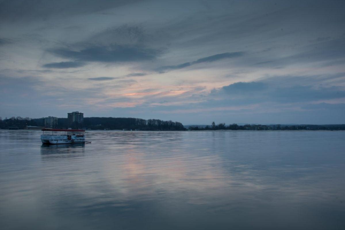 water, lake, watercraft, fog, reflection, sunset, dawn, sky, shore