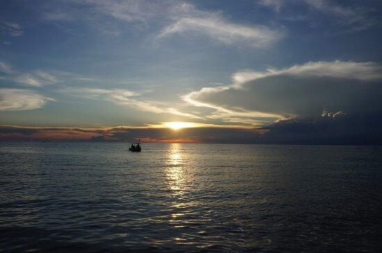 hav, solnedgång, strand, vatten, horisont, Panorama, gryning, landskap, hav, sol, himmel