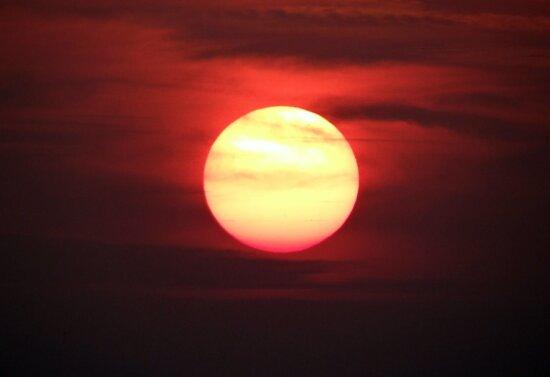 röd sol, astronomi, siluett, moln, väder, gryning, solnedgång