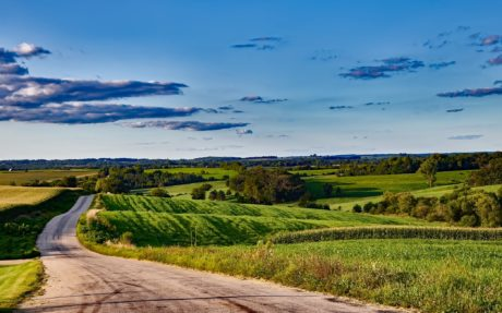 road, grass, nature, agriculture, blue sky, road, landscape, field, countryside