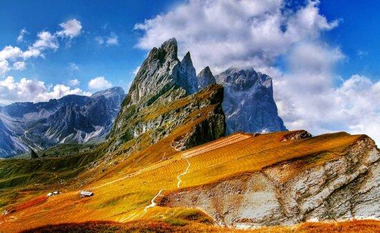 τοπίο, φύση, σύννεφο, μπλε ουρανός, κορυφή βουνών, παγετώνας, Χειμώνας, βουνοπλαγιά