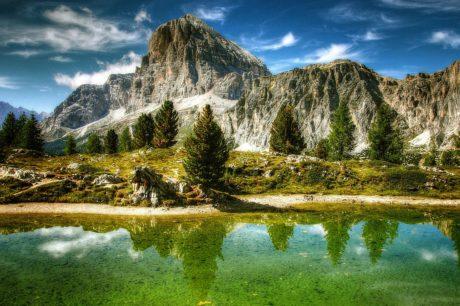 water, blue sky, lake, landscape, nature, mountain peak, glacier, outdoor