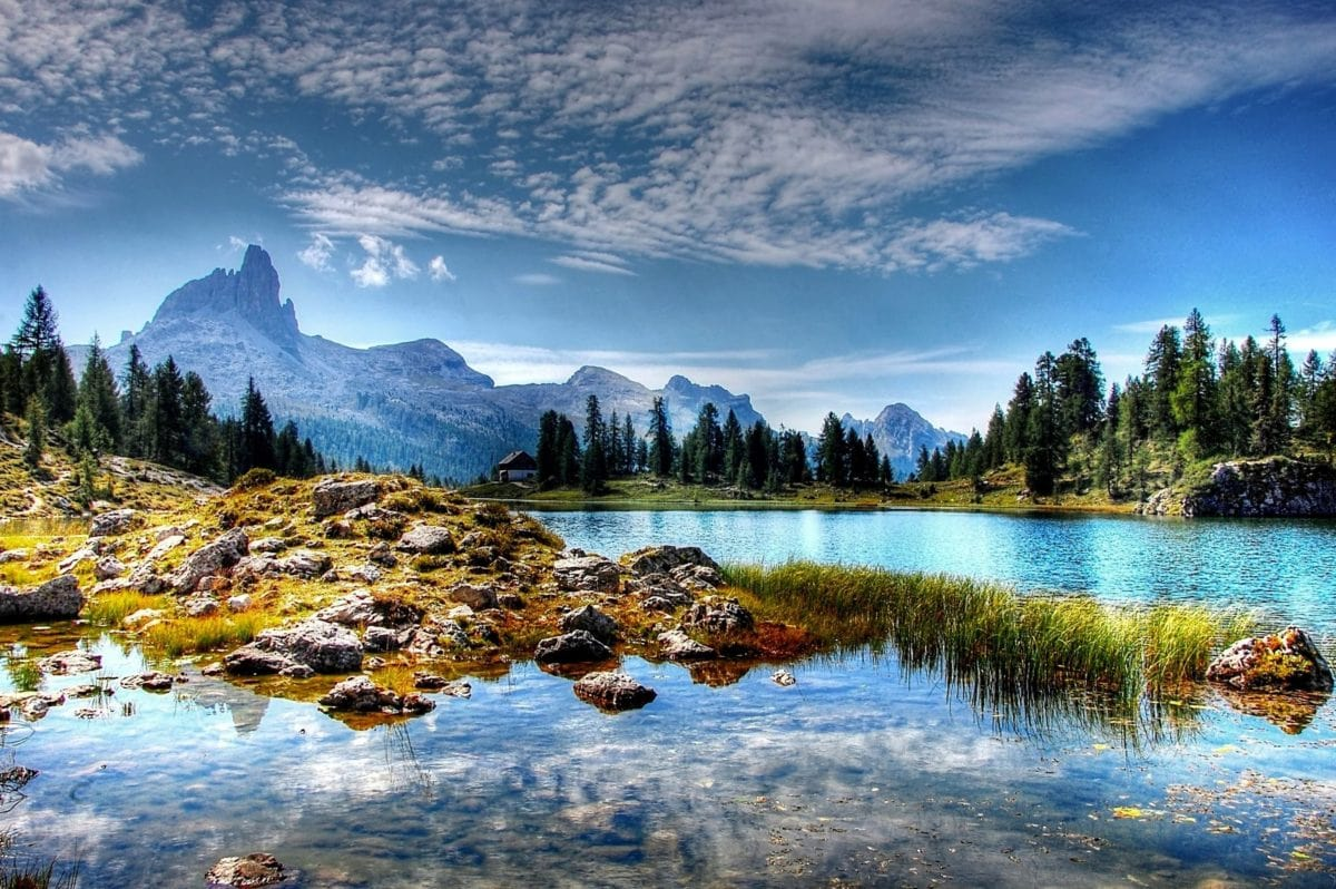 priroda, krajolik, jezero, planina, snijeg, refleksija, voda