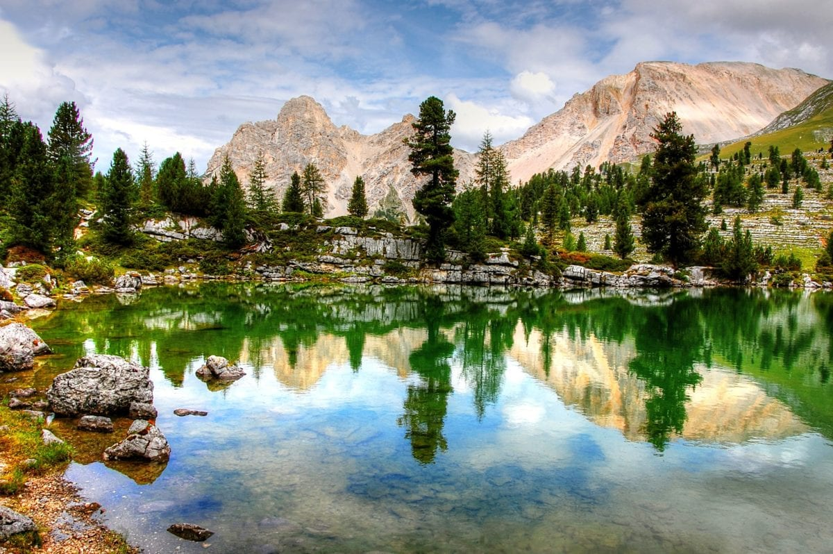 Гора, краєвид, вода, природа, відбиття, сніг, озеро
