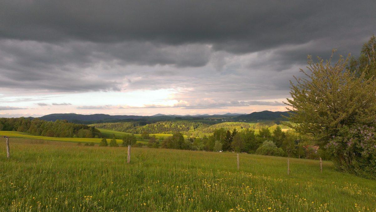 ég, domb, természet, sötét felhő, mező, táj, vidék, fa, mezőgazdaság