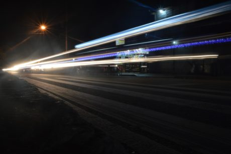 train, fast, dusk, traffic, night, light, darkness, street, downtown