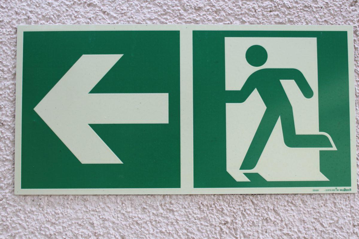 znak, vanjski, zid, izlaz, strelica, zelena, grafika, iamge
