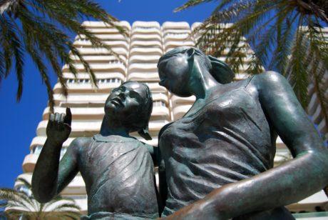 estatua, escultura, árbol, al aire libre, metal, objeto, bronce