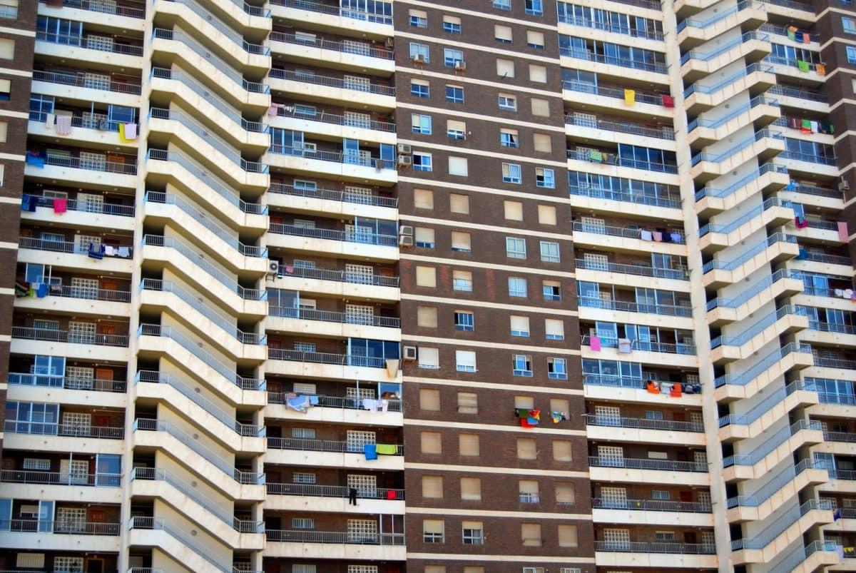 moderno, céntrico, balcón, apartamento, finca, arquitectura, zona urbana, torre