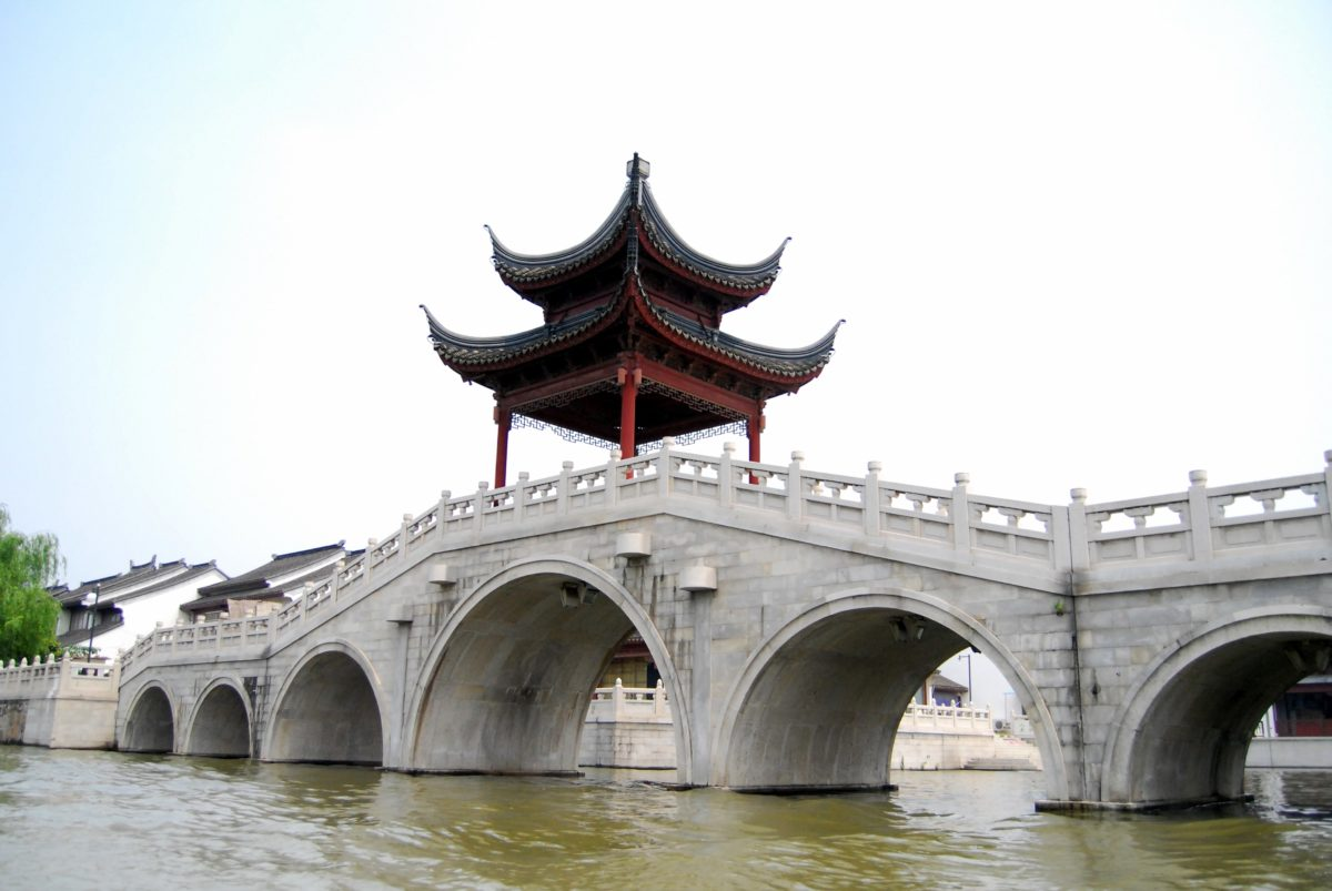 Kina, Asien, vartegn, himmel, vand, gamle, arkitektur, by, bro, flod, kanal